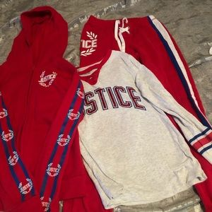 Justice size 8 track suit in red